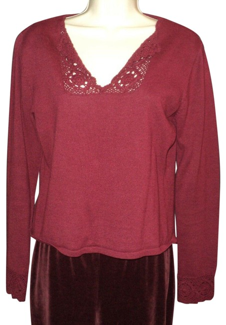 Item - Neck Crocheted Accents Burgundy Sweater