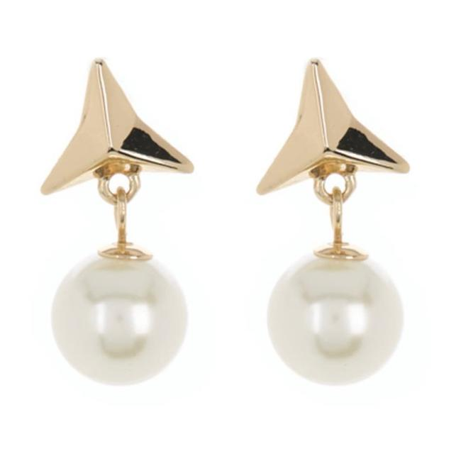 Item - Gold White Ivory Triangle Stud Pearl Drop Earrings