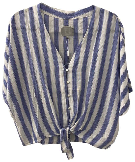 Item - Blue and White Thea-pacifica Stripe Blouse Size 16 (XL, Plus 0x)