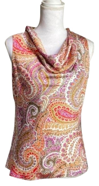 Item - Red Ivory Satin Cowl Neck Paisley Silky Tank S Blouse Size 4 (S)