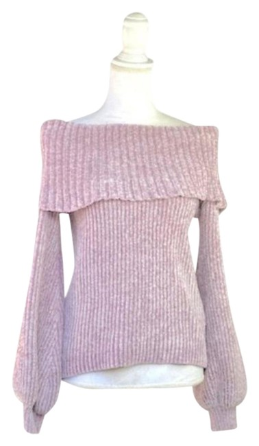 Item - Dusty Lilac Sleeve Off Shoulder Knit Purple Sweater