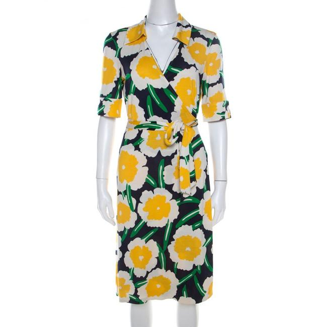 Item - Yellow Blue White Dvf Jillia Floral Silk Wrap Half Sleeve Short Casual Dress Size 0 (XS)