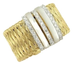 Roberto Coin (15006M) Roberto Coin Diamond & Mother of Pearl Woven Wide Band Ring in 18k Two Tone Gold