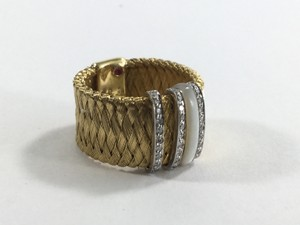 Roberto Coin Roberto Coin Diamond & Mother of Pearl Woven Wide Band Ring