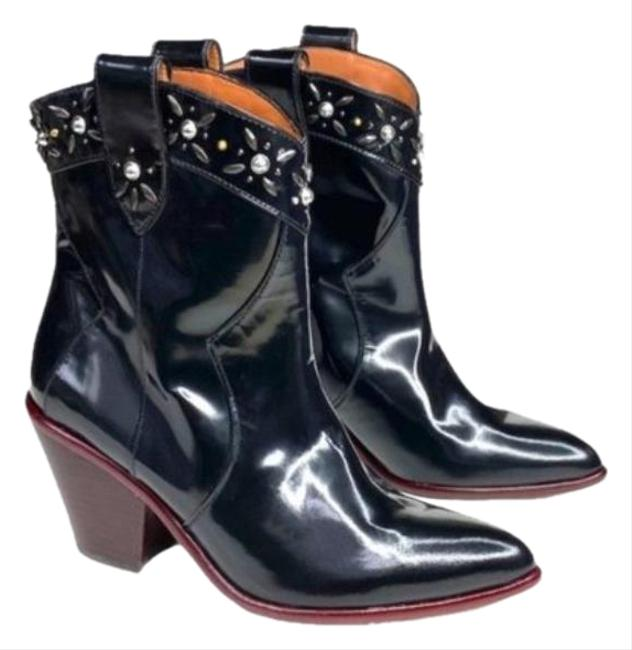 Item - Black Patent Leather Embellished Cowboy Boots/Booties Size US 6 Regular (M, B)