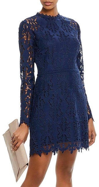 Item - Blue New Long Sleeve Cutwork Lace Sheath Small Short Night Out Dress Size 6 (S)