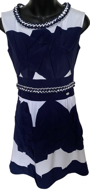 Item - Navy Blue White Cotton Silk Sleeveless Ruched Short Cocktail Dress Size 2 (XS)