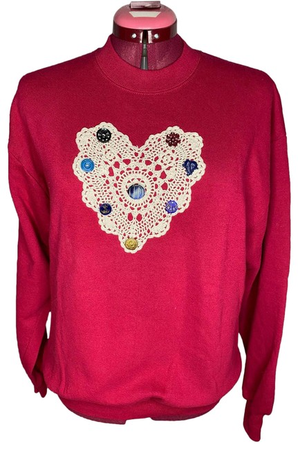 Item - Pink L 1980's Doily and Button Sweatshirt/Hoodie Size 14 (L)