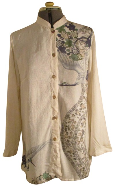 Item - Ivory Multi Crane Print Silk Tunic Button-down Top Size 8 (M)