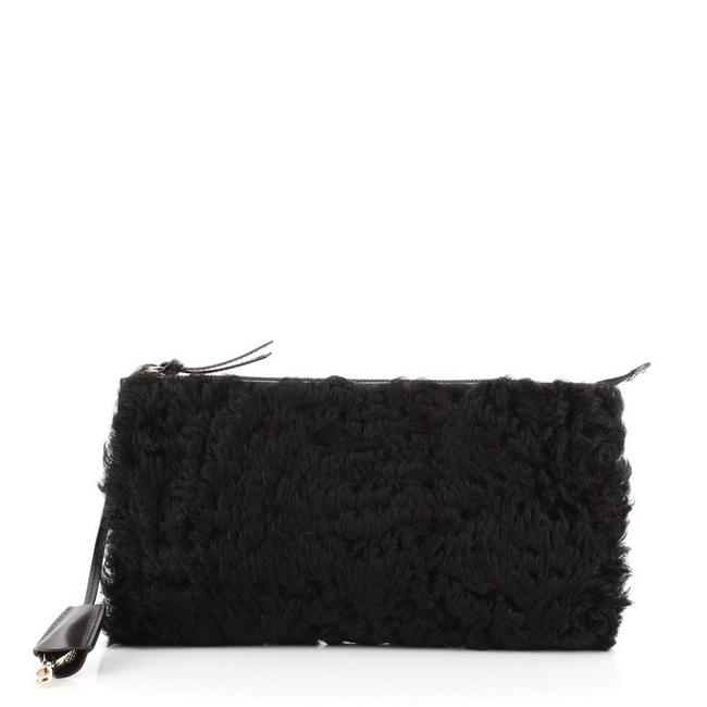 Item - Zip and Medium Black Shearling Leather Clutch