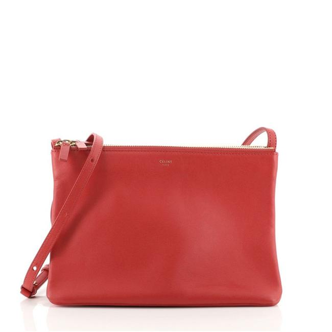 Item - Trio Large Red Leather Cross Body Bag