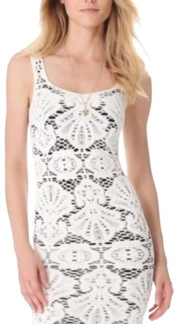 Free People Cream Medallion Seamless Crochet Bodycon Night Out Dress Size 12 (L) Free People Cream Medallion Seamless Crochet Bodycon Night Out Dress Size 12 (L) Image 1