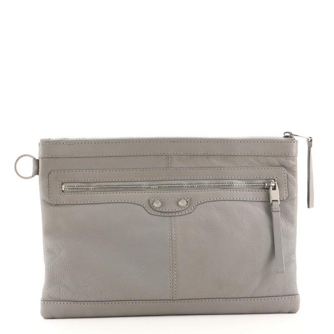 Item - Classic City Clip Pouch Medium Gray Leather Clutch