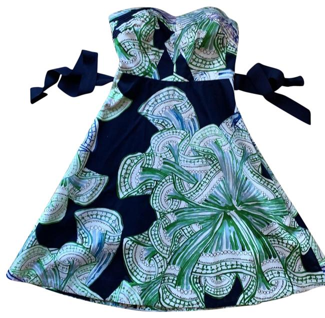 Item - Navy/Green/White Mid-length Short Casual Dress Size 2 (XS)