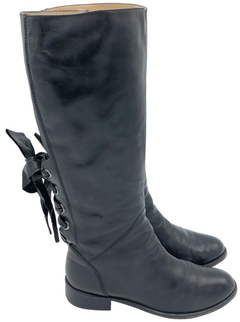 Valentino Black Ascot Tall Leather Riding with Bow Boots/Booties Size EU 37.5 (Approx. US 7.5) Regular (M, B) Valentino Black Ascot Tall Leather Riding with Bow Boots/Booties Size EU 37.5 (Approx. US 7.5) Regular (M, B) Image 1