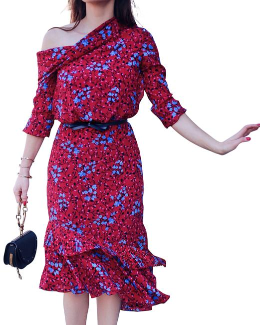 Item - Red and Blue Silk Lexie Mid-length Cocktail Dress Size 6 (S)