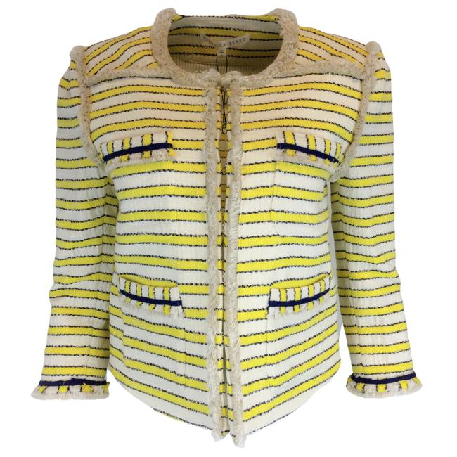 Item - Yellow Talie Striped Cotton Jacket Size 10 (M)