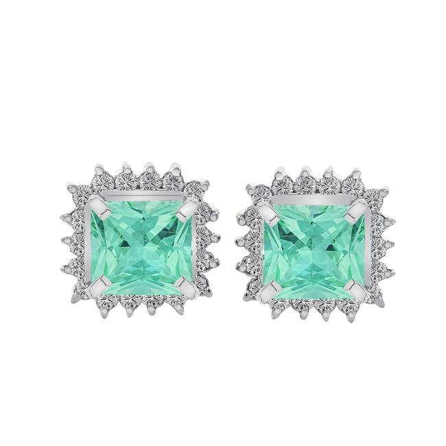 Item - Green White 1.60 Ct.tw Colombian Emerald 0.20 Ct.tw Diamond Stud Vintage Earrings