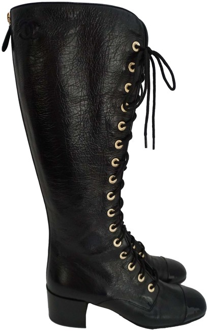 Item - Black Leather Lace Up High Over The Knee Corset Boots/Booties Size EU 40.5 (Approx. US 10.5) Regular (M, B)