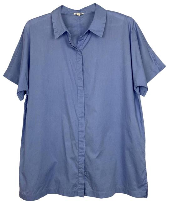 Eileen Fisher Blue Organic Cotton Lawn Classic Shirt Button-down Top Size 10 (M) Eileen Fisher Blue Organic Cotton Lawn Classic Shirt Button-down Top Size 10 (M) Image 1
