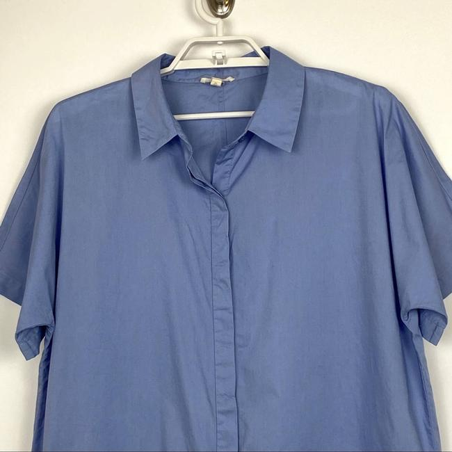 Eileen Fisher Blue Organic Cotton Lawn Classic Shirt Button-down Top Size 10 (M) Eileen Fisher Blue Organic Cotton Lawn Classic Shirt Button-down Top Size 10 (M) Image 2