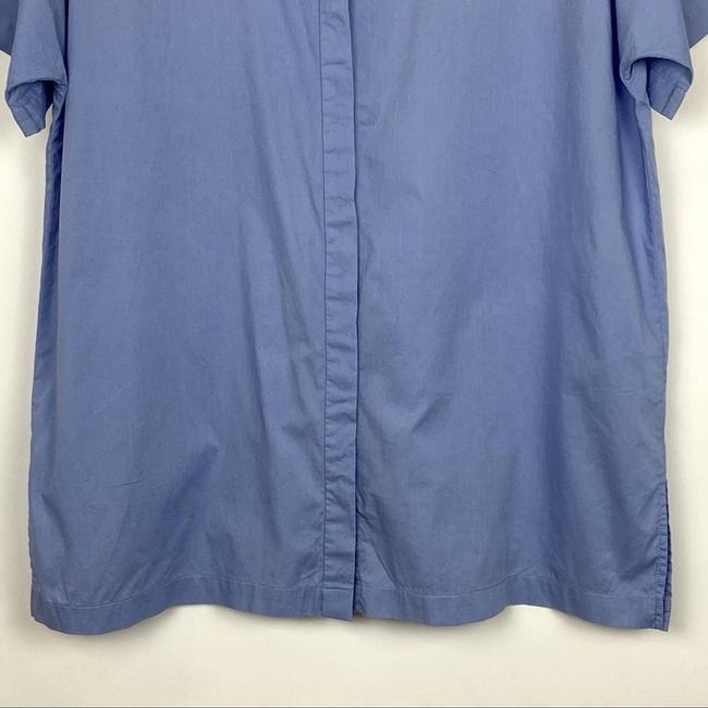 Eileen Fisher Blue Organic Cotton Lawn Classic Shirt Button-down Top Size 10 (M) Eileen Fisher Blue Organic Cotton Lawn Classic Shirt Button-down Top Size 10 (M) Image 3