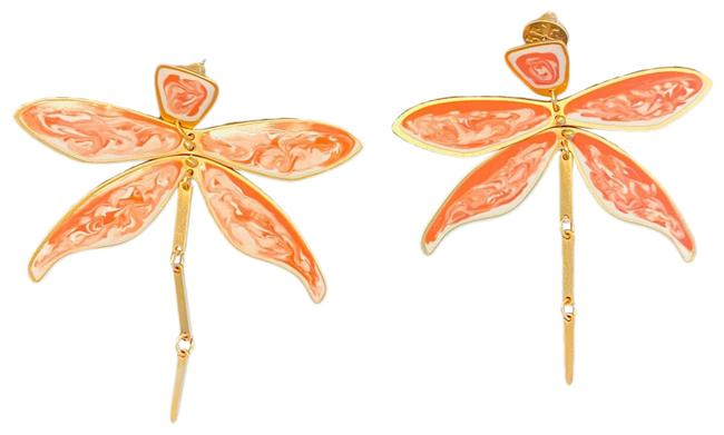 Item - Pink Gold and White Articulated Dragonfly Earrings