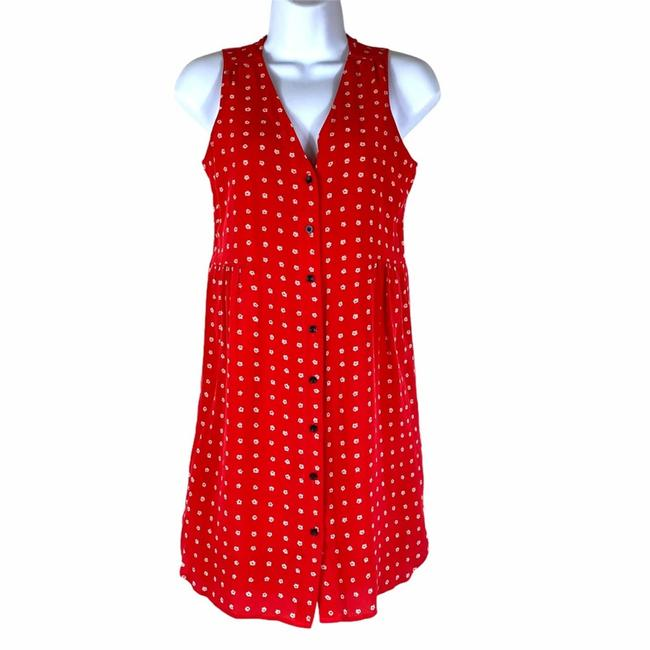 Item - Red Floral Silk Button Up Short Casual Dress Size 6 (S)