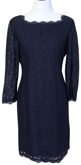 Adrianna Papell Navy Blue Long Sleeve Lace Mid-length Formal Dress Size 16 (XL, Plus 0x) Adrianna Papell Navy Blue Long Sleeve Lace Mid-length Formal Dress Size 16 (XL, Plus 0x) Image 1