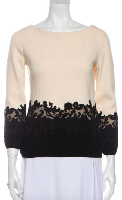 Item - Colorblock Bateau Neckline Cream & Black Sweater