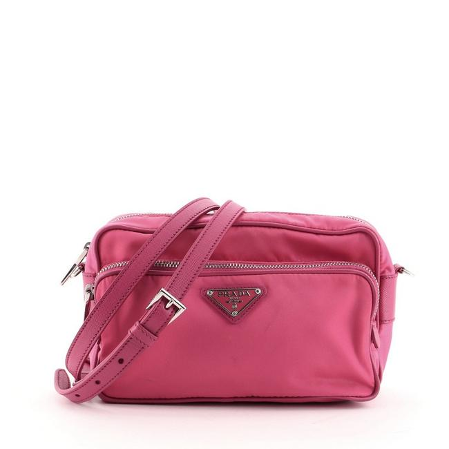 Item - Front Pocket Tessuto Small Pink Nylon Cross Body Bag