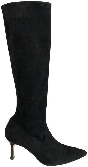 Item - Black Suede Leather Slim Heeled Tall Boots/Booties Size EU 39.5 (Approx. US 9.5) Regular (M, B)