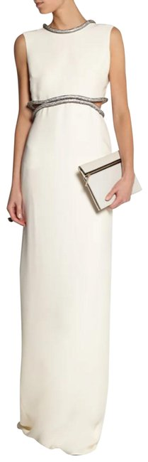 Item - White Crystal-embellished Silk-cady Gown 38 - Us 2 Long Night Out Dress Size 4 (S)