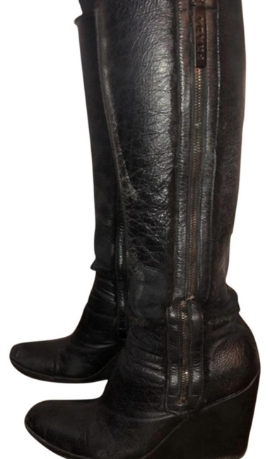 Item - Black Shearling Wedge High Boots/Booties Size EU 39 (Approx. US 9) Regular (M, B)