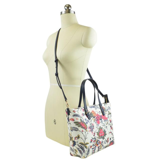 Tory Burch Kerrington Small Zip In Gabriella Floral Ivory Coated Canvas Tote Tory Burch Kerrington Small Zip In Gabriella Floral Ivory Coated Canvas Tote Image 1