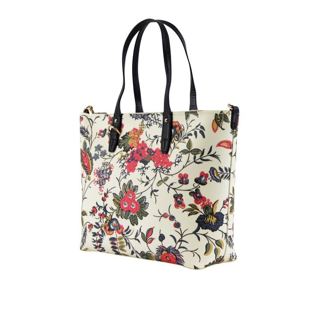 Tory Burch Kerrington Small Zip In Gabriella Floral Ivory Coated Canvas Tote Tory Burch Kerrington Small Zip In Gabriella Floral Ivory Coated Canvas Tote Image 2
