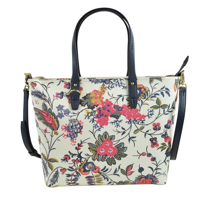 Tory Burch Kerrington Small Zip In Gabriella Floral Ivory Coated Canvas Tote Tory Burch Kerrington Small Zip In Gabriella Floral Ivory Coated Canvas Tote Image 4