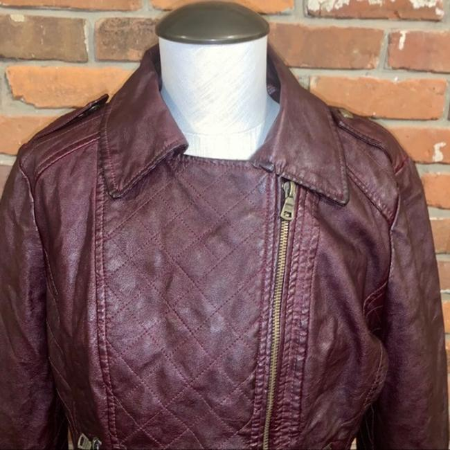 Guess Red Quilted Faux Leather Moto Jacket Size 14 (L) Guess Red Quilted Faux Leather Moto Jacket Size 14 (L) Image 2