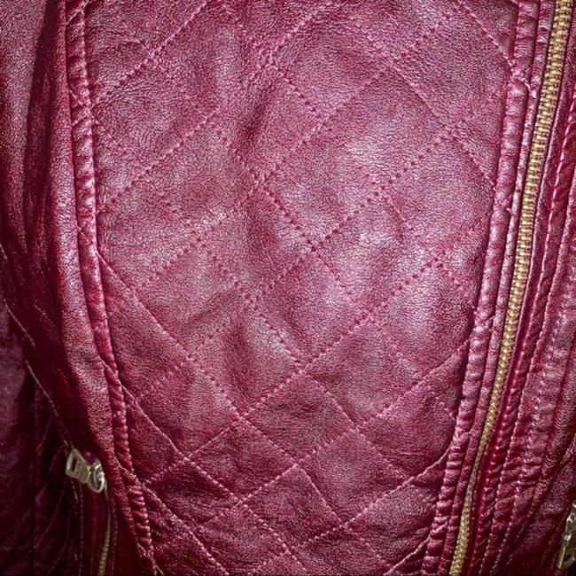 Guess Red Quilted Faux Leather Moto Jacket Size 14 (L) Guess Red Quilted Faux Leather Moto Jacket Size 14 (L) Image 3