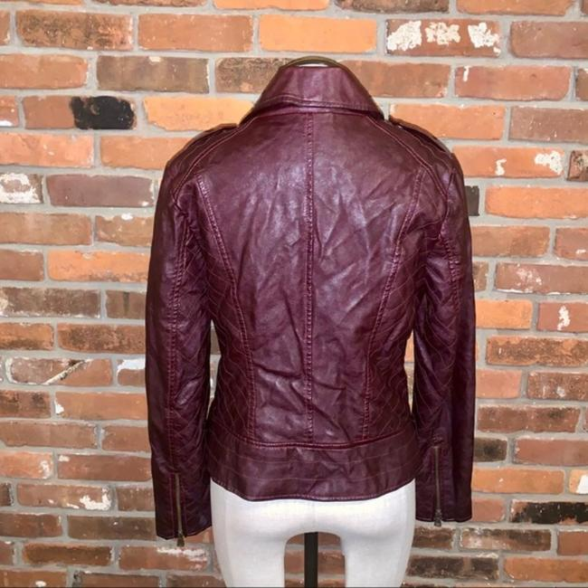 Guess Red Quilted Faux Leather Moto Jacket Size 14 (L) Guess Red Quilted Faux Leather Moto Jacket Size 14 (L) Image 5