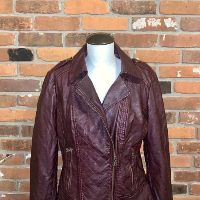 Guess Red Quilted Faux Leather Moto Jacket Size 14 (L) Guess Red Quilted Faux Leather Moto Jacket Size 14 (L) Image 7