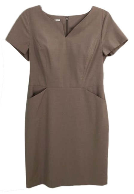 Item - Tan Structured Career Style Short Work/Office Dress Size Petite 6 (S)
