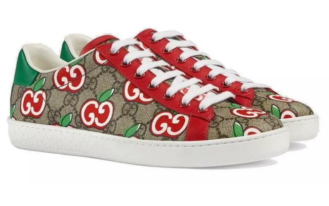 Item - Gg Supreme Red Apple Leather New Canvas and Print Ace 37/Us7 Sneakers Size US 7 Regular (M, B)