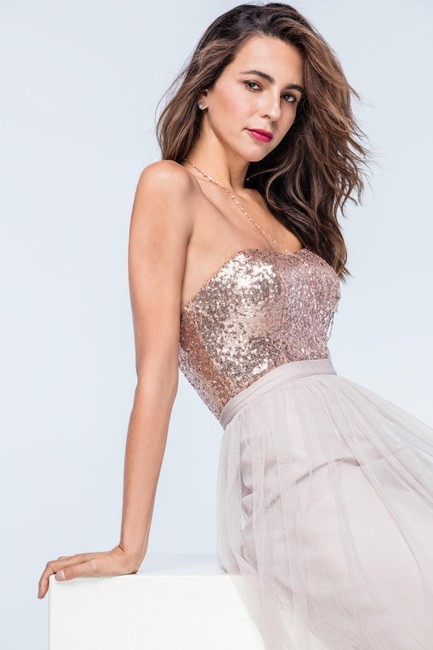 Item - Rose Gold Sequin Anette Bustier Sexy Bridesmaid/Mob Dress Size 6 (S)