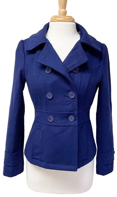 Tulle Blue Jacket Double Button Navy S Coat Size 4 (S) Tulle Blue Jacket Double Button Navy S Coat Size 4 (S) Image 1