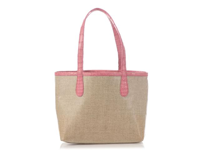 Item - Pink Erica Linen And Beige Crocodile Skin Leather Tote