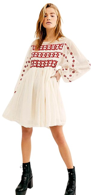 Item - White Need Me Embroidered Mini Short Casual Dress Size 8 (M)