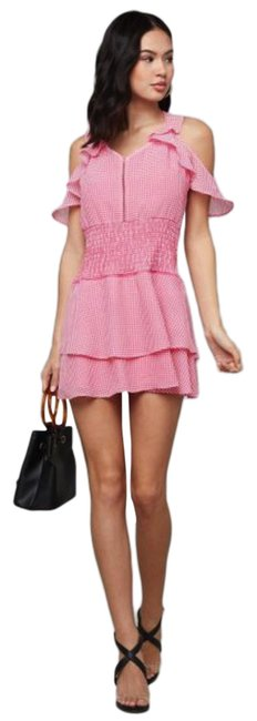 Item - Pink Smocked Waist Ruffle Frilly Gingham Short Casual Dress Size 12 (L)