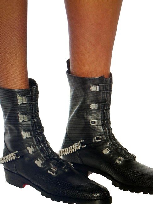 Christian Louboutin Black/Silver Horse Gaurda Mixed Leather Combat Boots/Booties Size US 8 Regular (M, B) Christian Louboutin Black/Silver Horse Gaurda Mixed Leather Combat Boots/Booties Size US 8 Regular (M, B) Image 1