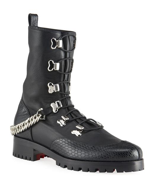 Christian Louboutin Black/Silver Horse Gaurda Mixed Leather Combat Boots/Booties Size US 8 Regular (M, B) Christian Louboutin Black/Silver Horse Gaurda Mixed Leather Combat Boots/Booties Size US 8 Regular (M, B) Image 2